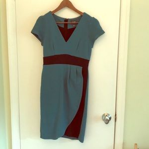 Maeve Teal and black contrast dress